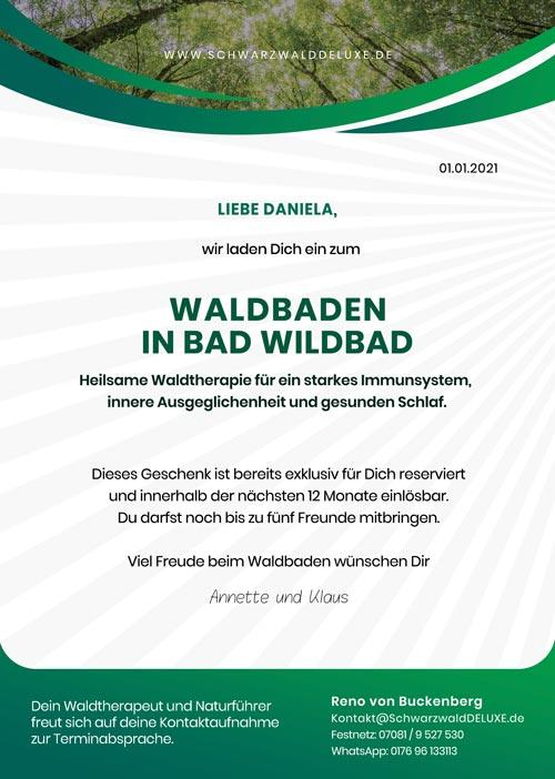 Gutschein für Waldbaden in Bad Wildbad mit individuellen Namen zum verschenken